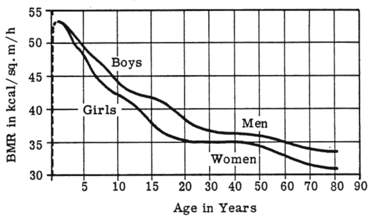 This chart shows how your metabolism slows down as men get older: It shows how metabolism (BMR or basal metabolic rate) falls as we age.