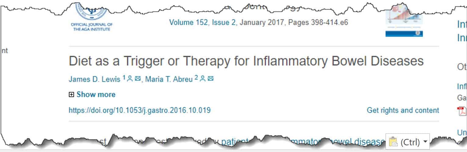 Diet as a Trigger or Therapy for Inflammatory Bowel Diseases