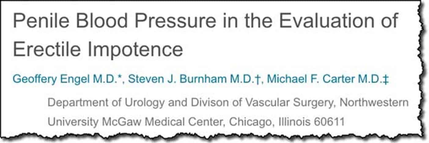 Penile Blood Pressure in the Evaluation of Erectile Impotence
