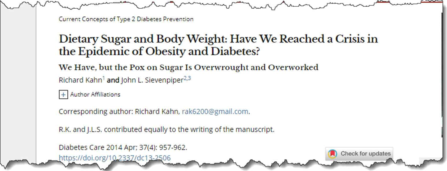 Dietary Sugar and Body Weight: Have We Reached a Crisis in the Epidemic of Obesity and Diabetes?