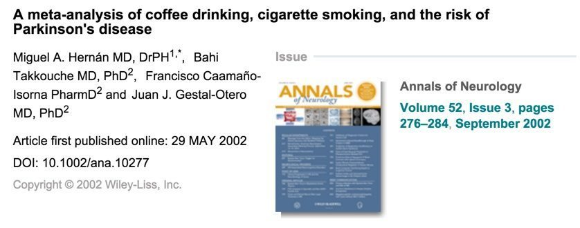 parkinsons and smoking study