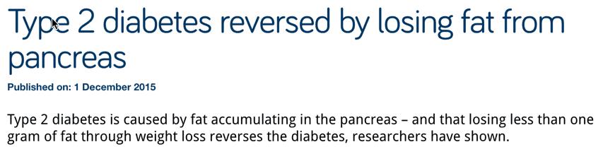 Type 2 diabetes reversed by losing fat from pancreas