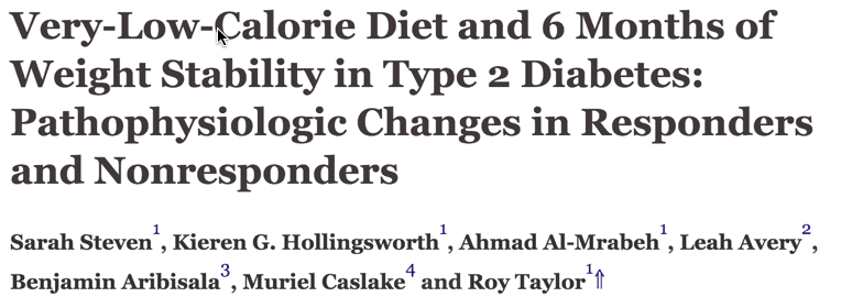 Very-Low-Calorie Diet and 6 Months of Weight Stability in Type 2 Diabetes: Pathophysiologic Changes in Responders and Nonresponders