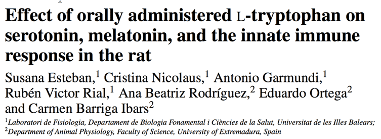 Effect of orally administered L-tryptophan on serotonin, melatonin, and the innate immune response in the rat