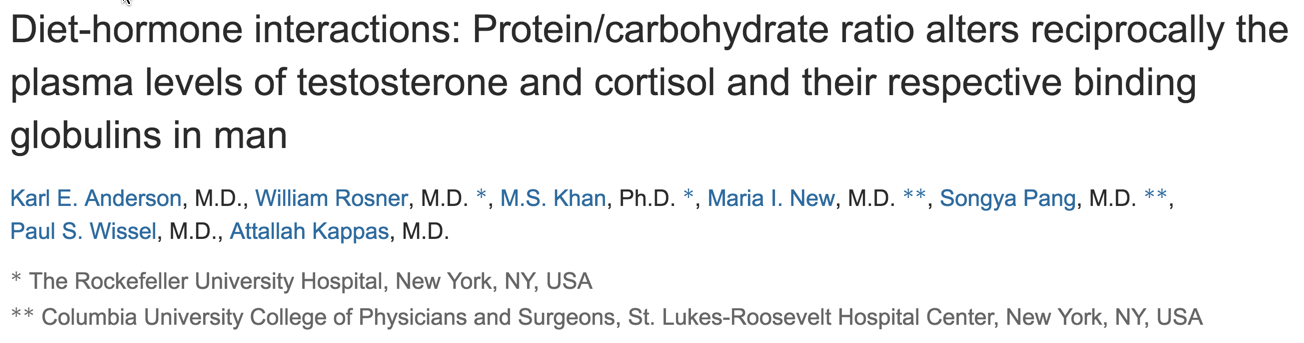 Diet-hormone interactions: Protein/carbohydrate ratio alters reciprocally the plasma levels of testosterone and cortisol and their respective binding globulins in man