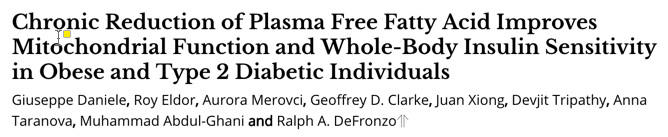 Chronic Reduction of Plasma Free Fatty Acid Improves Mitochondrial Function and Whole-Body Insulin Sensitivity in Obese and Type 2 Diabetic Individuals