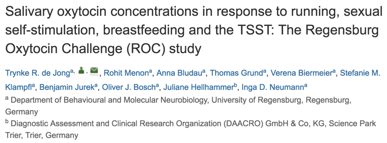 Salivary oxytocin concentrations in response to running, sexual self-stimulation, breastfeeding and the TSST: The Regensburg Oxytocin Challenge (ROC) study