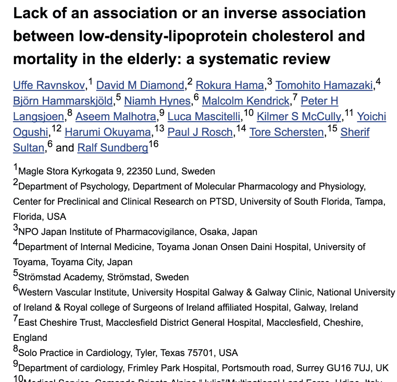 Lack of an association or an inverse association between low-density-lipoprotein cholesterol and mortality in the elderly: a systematic review
