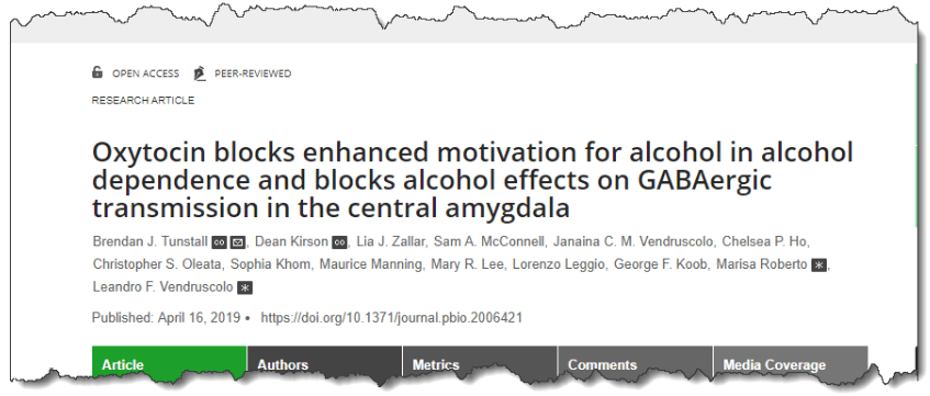 Oxytocin blocks enhanced motivation for alcohol in alcohol dependence and blocks alcohol effects on GABAergic transmission in the central amygdala
