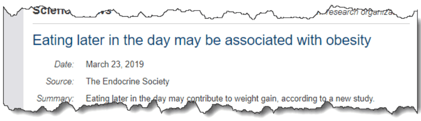 Eating later in the day may be associated with obesity