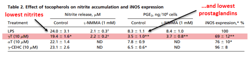 Effect of tocopherols on nitrate accumulation and iNOS expression