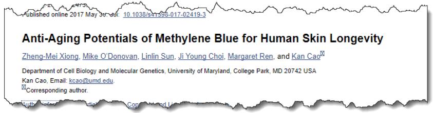 Anti-Aging Potentials of Methylene Blue for Human Skin Longevity