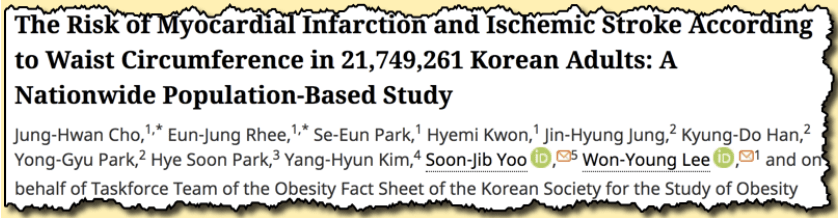 The risk of myocardial infarction and ischaemic stroke according to waist circumference in 21,749,261 Korean adults: a nationwide population based study