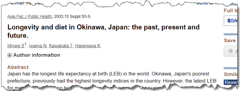 Longevity and diet in Okinawa, Japan: the past, present and future.