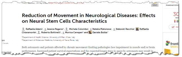 Reduction of Movement in Neurological Diseases: Effects on Neural Stem Cells Characteristics
