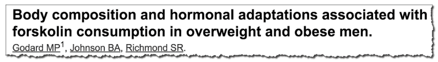 Body composition and hormonal adaptations associated with forskolin consumption in overweight and obese men.
