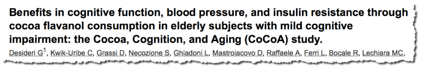 Benefits in cognitive function, blood pressure, and insulin resistance through cocoa flavanol consumption in elderly subjects with mild cognitive impairment: the Cocoa, Cognition, and Aging (CoCoA) study.
