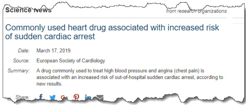 Commonly used heart drug associated with increased risk of sudden cardiac arrest