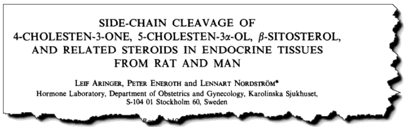 Side-chain cleavage of 4-cholesten-3-one, 5-cholesten-3α-ol, β-sitosterol, and related steroids in endocrine tissues from rat and man.