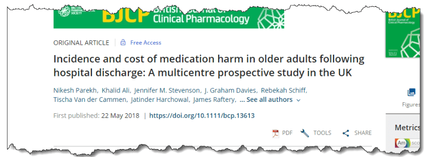 Incidence and cost of medication harm in older adults following hospital discharge: a multicentre prospective study in the UK