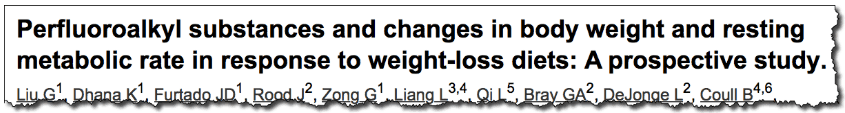 Perfluoroalkyl substances and changes in body weight and resting metabolic rate in response to weight-loss diets: A prospective study.