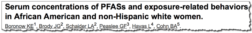 Serum concentrations of PFASs and exposure-related behaviors in African American and non-Hispanic white women.