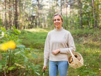 young woman with wicker basket and knife picking mushrooms in forest