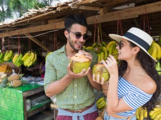 Couple Drink Coconut Asian Fruits Street Market Buying Fresh Food, Young Man And Woman Tourists Exotic Vacation Tropical Holiday