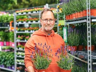 Middle age man gardener buying plants in garden center