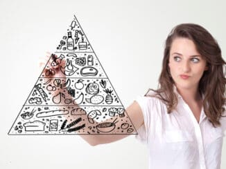 Young woman drawing a various food pyramid on whiteboard