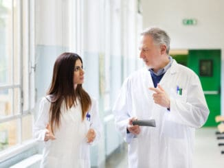 Doctors talking in an hospital