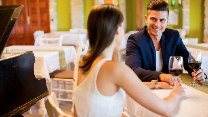Young couple drinking red wine in a restaurant
