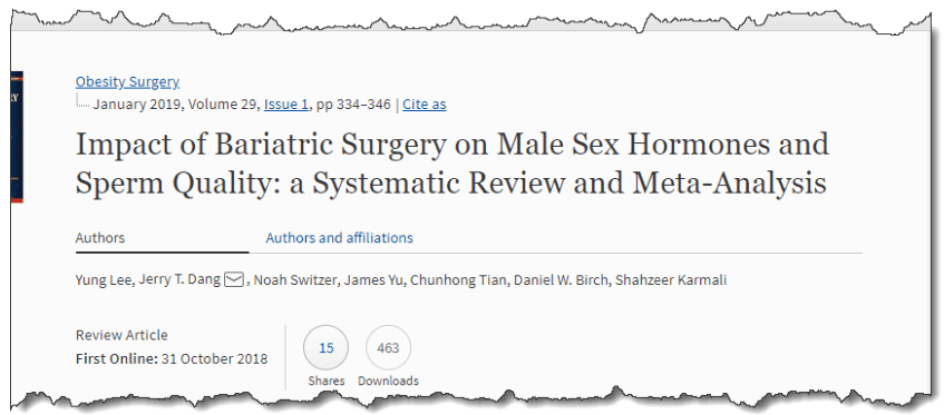 Impact of Bariatric Surgery on Male Sex Hormones and Sperm Quality: a Systematic Review and Meta-Analysis