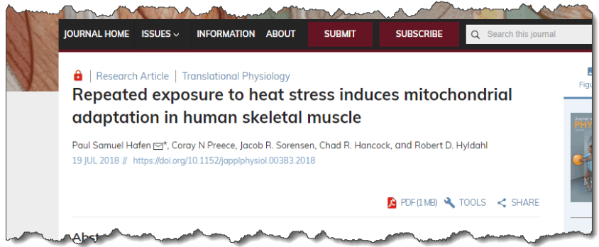 Repeated exposure to heat stress induces mitochondrial adaptation in human skeletal muscle