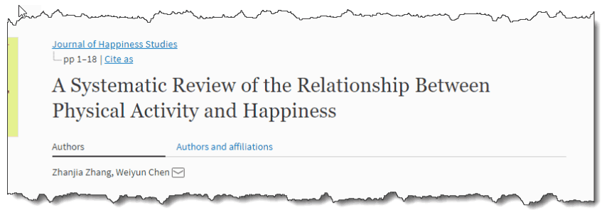 A Systematic Review of the Relationship Between Physical Activity and Happiness