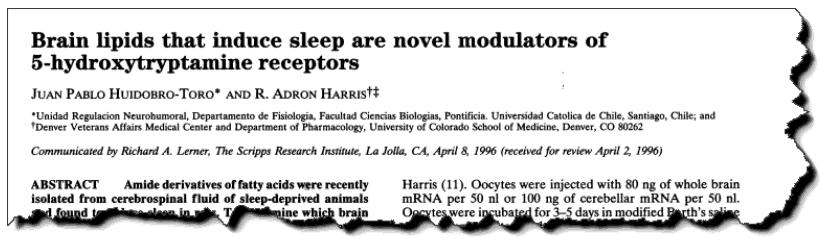 Brain lipids that induce sleep are novel modulators of 5-hydroxytrypamine receptors