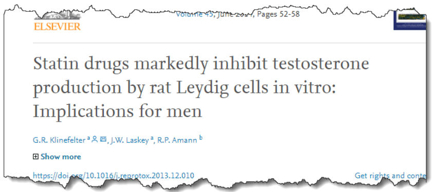 Statin drugs markedly inhibit testosterone production by rat Leydig cells in vitro: implications for men
