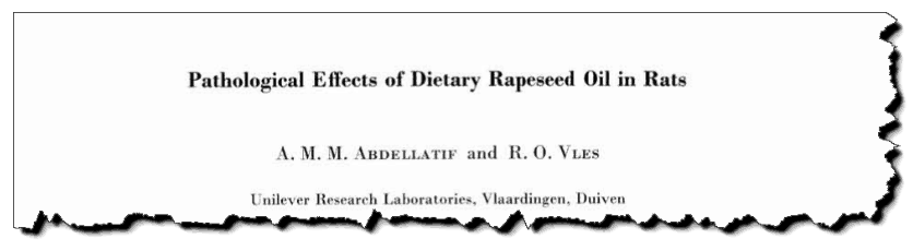 Pathological effects of dietary rapeseed oil in rats.