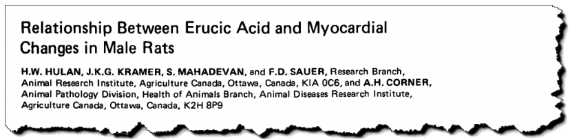 Relationship between erucic acid and myocardial changes in male rats.