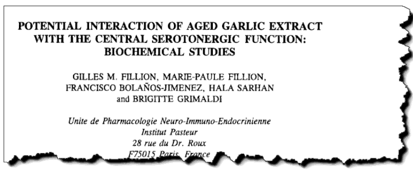 Potential Interaction of Aged Garlic Extract with the Central Serotonergic Function: Biochemical Studies.