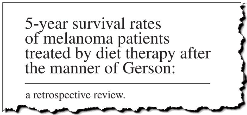 5-year survival rates of melanoma patients treated by diet therapy after the manner of Gerson.