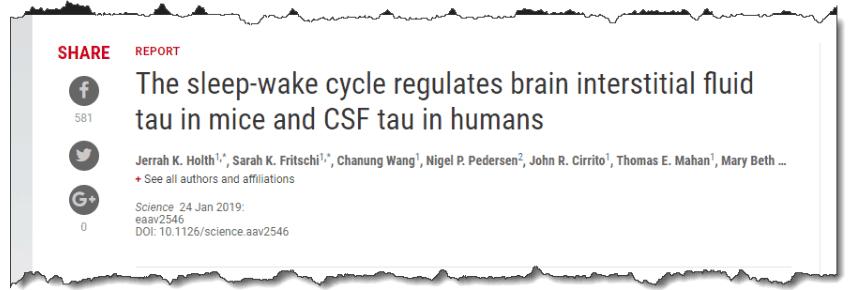 The sleep-wake cycle regulates brain interstitial fluid tau in mice and CSF tau in humans