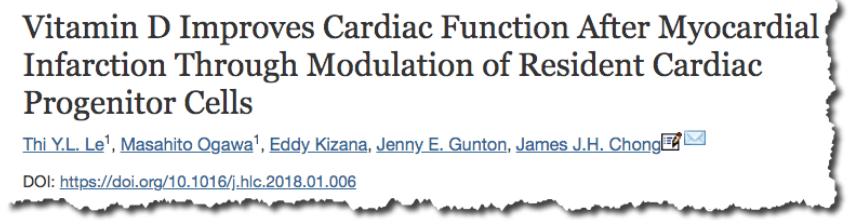 Vitamin D Improves Cardiac Function After Myocardial Infarction Through Modulation of Resident Cardiac Progenitor Cells