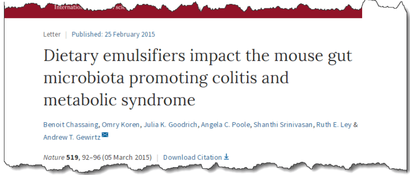 Dietary emulsifiers impact the mouse gut microbiota promoting colitis and metabolic syndrome