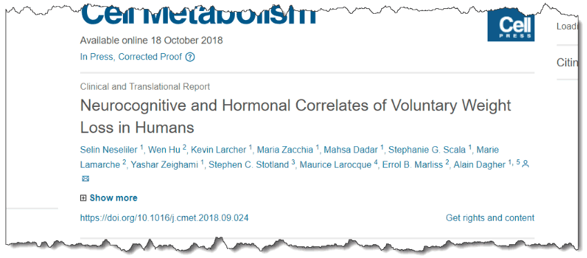 Neurocognitive and Hormonal Correlates of Voluntary Weight Loss in Humans