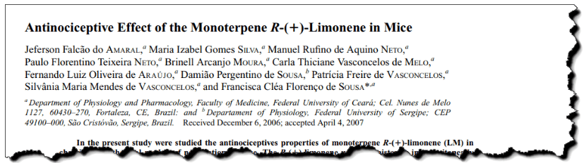 Antinociceptive effect of the monoterpene R-(+)-limonene in mice.