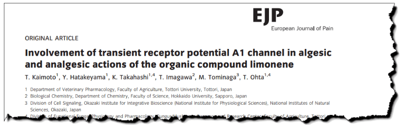 Involvement of transient receptor potential A1 channel in algesic and analgesic actions of the organic compound limonene.