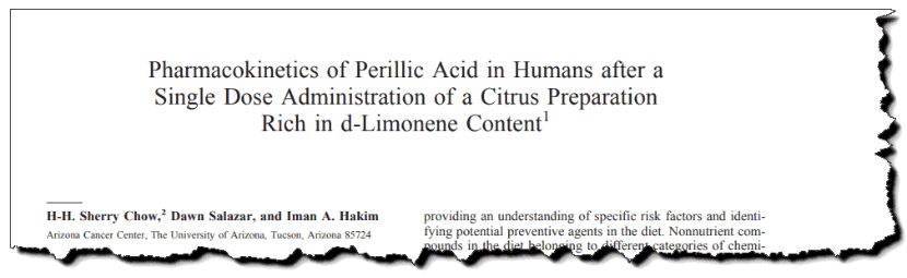 Pharmacokinetics of Perillic Acid in Humans after a single dose administration of a citrus preparation rich in d-Limonene content
