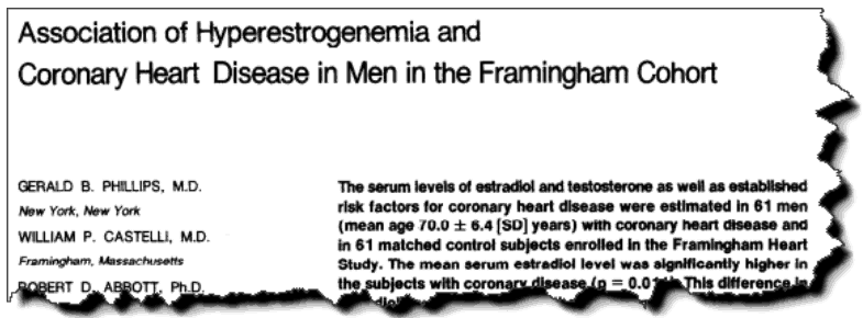 Association of hyperestrogenemia and coronary heart disease in men in the Framingham cohort
