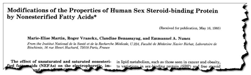 """Modifications of the properties of human sex steroid-binding protein by nonesterified fatty acids."""" Journal of Biological Chemistry"""